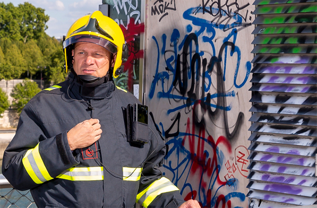 Fireman uses gadgets with hybrid smart device