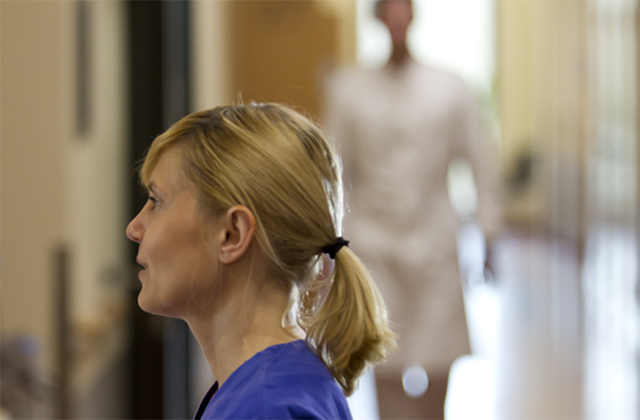 Nurse at a hospital waiting for support