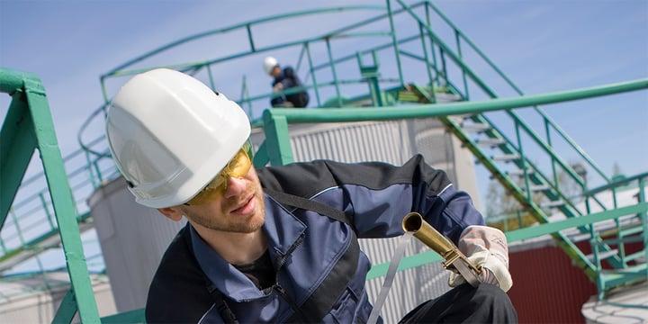Man in helmet in an industrial environment