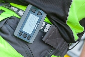 P8GR TETRA pager worn on the belt