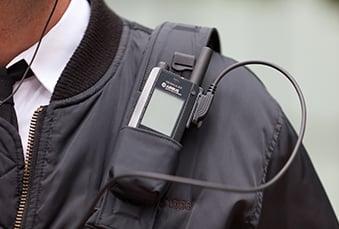TH1n TETRA radio in a shoulder holder