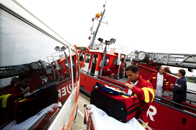 Rescue operations at a harbour