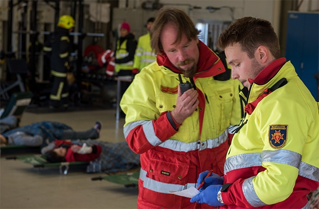 Rescue personnel at the major emergency exercise SURO 2016 in Finland