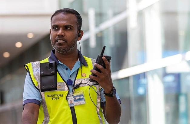 Airport facility care staff with Tactilon Dabat