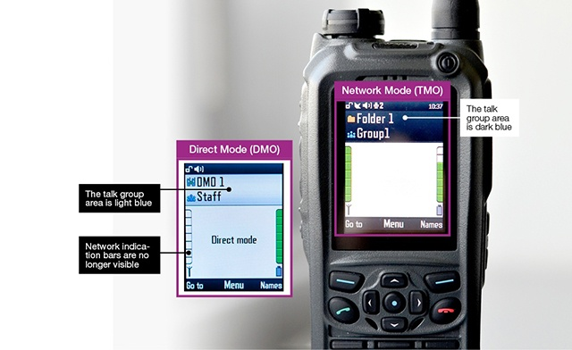 An example: How to see the network mode on the TETRA radio display