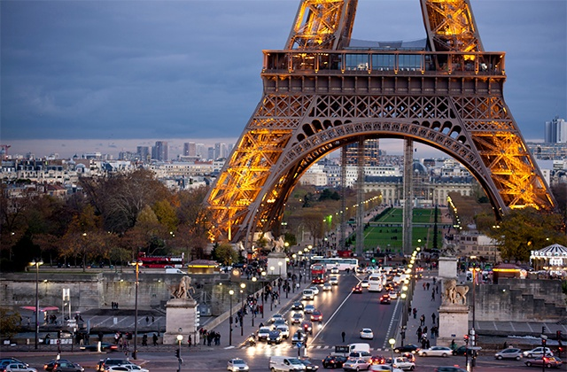 Traffic near the Eiffel Tower in Paris, France