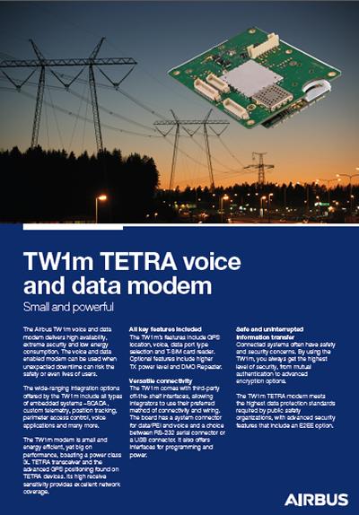 Datasheet cover page - TW1m TETRA modem
