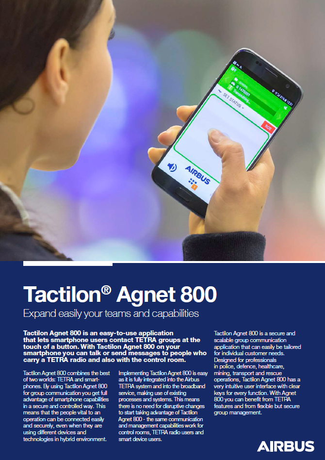 Tactilon Agnet 800 Datenblatt