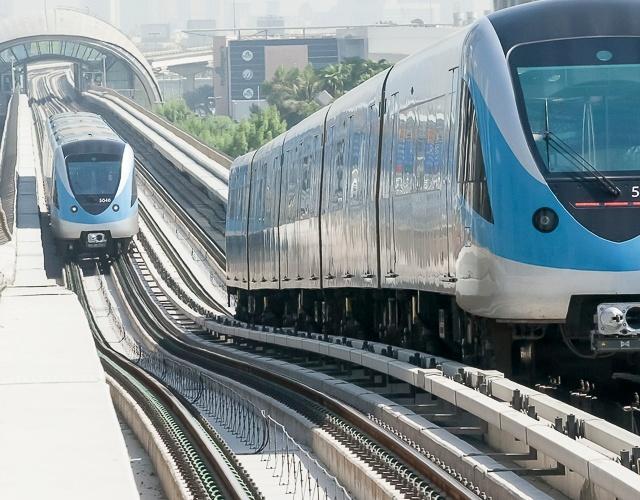 Metro cars in Dubai