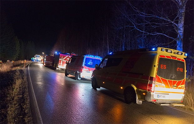 Rescue vehicles on a Finnish road